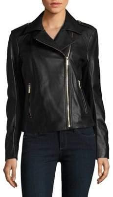 Karl Lagerfeld Paris Zippered Leather Motorcycle Jacket