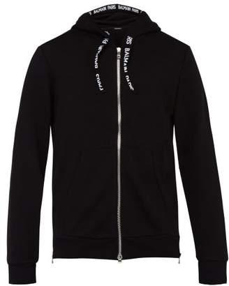 Balmain Logo Trimmed Cotton Zip Up Hooded Sweater - Mens - Black