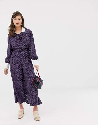 Sister Jane wide leg tea jumpsuit with pussybow in grid print
