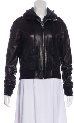 R 13 Leather Layered Jacket