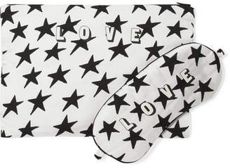 Rizzo Love Stories Printed Satin Eye Mask And Pouch Set - White