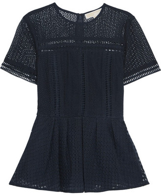 MICHAEL Michael Kors - Broderie Anglaise Cotton-blend Peplum Top - Midnight blue $195 thestylecure.com