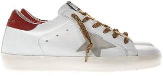 Golden Goose White And Red Leather Superstar Sneakers With Contrasting Laces