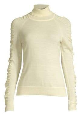 Milly Wool Shirred-Sleeve Sweater