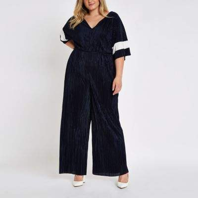 Womens Plus navy plisse V neck wide leg jumpsuit