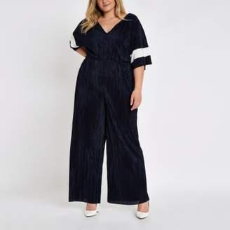 River Island Womens Plus navy plisse V neck wide leg jumpsuit