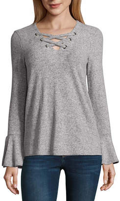 BY AND BY by&by Long Sleeve V Neck Pullover Sweater-Juniors