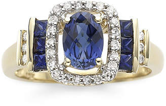 JCPenney FINE JEWELRY 1/7 CT. T.W. Diamond & Genuine Blue Sapphire 10K Gold Ring