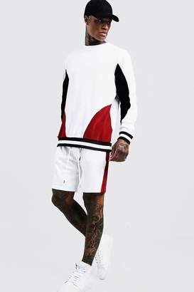 Velour Colour Block Sweater Tracksuit With Rib