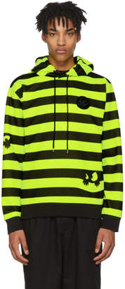 McQ Black and Yellow Monster Stripe Patch Big Hoodie