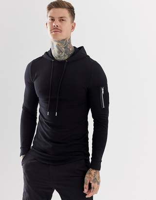 Asos DESIGN longline muscle fit hoodie with MA1 pocket and curved hem in black