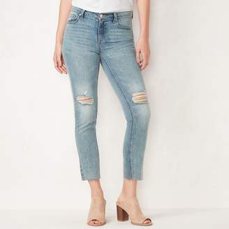 Lauren Conrad Women's Distressed Midrise Slim Straight-Leg Jeans