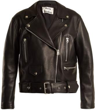 ACNE STUDIOS Merlyn oversized leather biker jacket $1,800 thestylecure.com