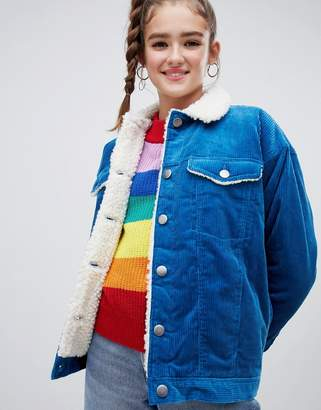 Monki shearling collar cord jacket in blue