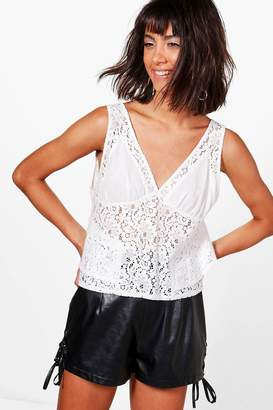 boohoo Hollie Lace Panel Woven Swing Cami