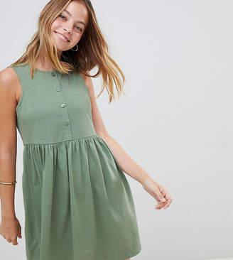 Asos DESIGN Petite sleeveless button smock dress