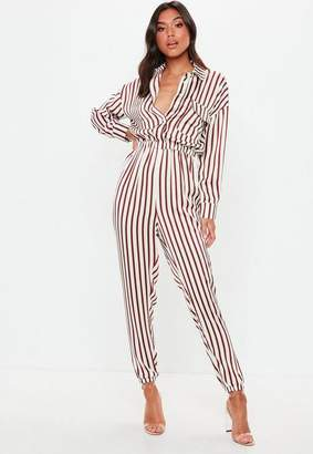 76b8fafd075 at Missguided · Missguided White Satin Striped Utility Romper