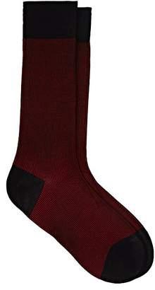 Barneys New York Men's Striped Stretch-Cotton Mid-Calf Socks