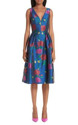 Carolina Herrera Sleeveless Allover Floral Fit & Flare Dress