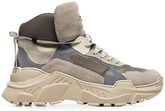 Balmain grey, beige and brown joan technical sneakers