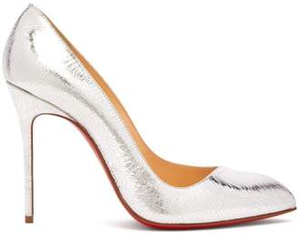 Christian Louboutin Corneille 100 Cracked Leather Pumps - Womens - Silver