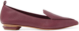 Nicholas Kirkwood Beya Textured-leather Point-toe Flats - Burgundy