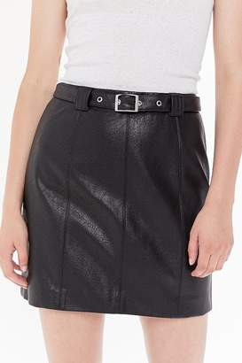 Urban Outfitters Franny Belted Faux Leather Mini Skirt