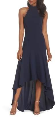 ML Monique Lhuillier ML Monique Lhuiller Crepe Halter High/Low Gown