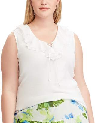 Chaps Plus Size Ruffle Lace-Up Tank