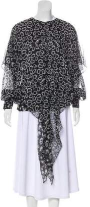 Thomas Wylde Asymmetrical Silk Long Sleeve Blouse