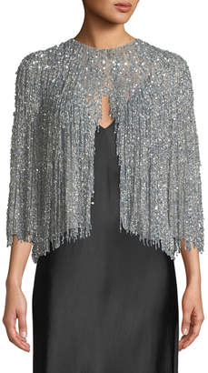Naeem Khan Fringe Beaded Evening Jacket