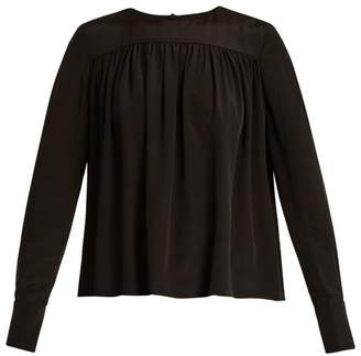 Diane von Furstenberg Gathered Double Cuff Silk Georgette Blouse - Womens - Black