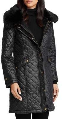 Lauren Ralph Lauren Quilted Faux-Fur Walker Coat