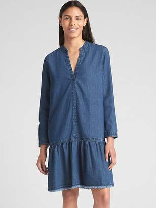Gap Long Sleeve Popover Drop Waist Dress in Denim