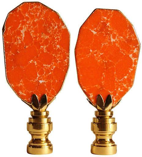 One Kings Lane Vintage Orange Gilded Jasper Lamp Finials - Set of 2 - Pythagoras Place