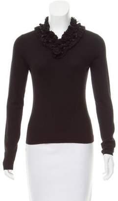 Naeem Khan Ruffle-Trimmed Cashmere Sweater