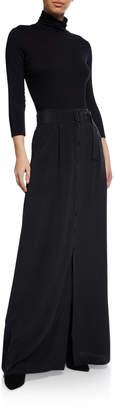 L'Agence Bendetta Silk-Twill Button-Front Maxi Skirt