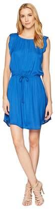 Vince Camuto Flutter Sleeve Tie Waist Rumple Dress Women's Dress
