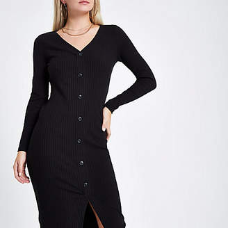 River Island Petite black button front bodycon dress
