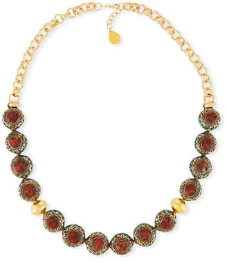 Devon Leigh Antiqued Coral Bead Nugget Necklace