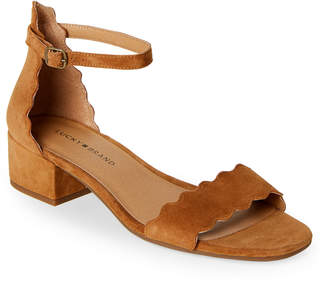 Lucky Brand Toasted Almond Norreys Scalloped Block Heel Sandals