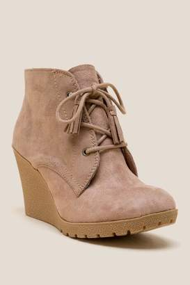 MIA Teagan Lace Up Wedge Ankle Boot - Taupe