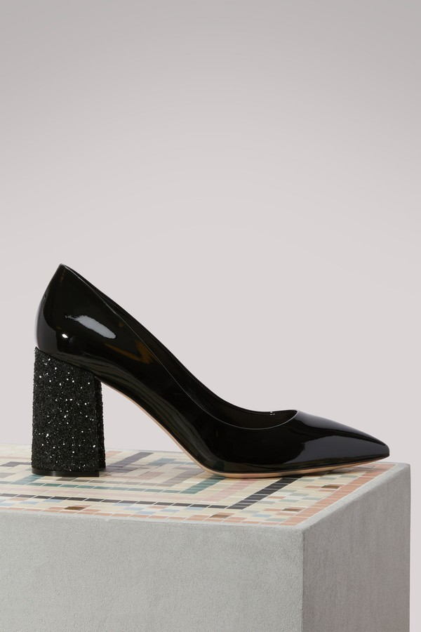 Miu Miu Leather pumps with glitter heel