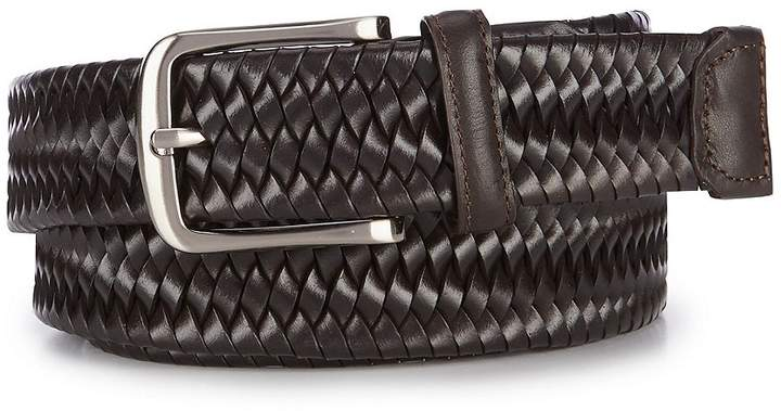 Roundtree & Yorke Big & Tall Stretch Braid Leather Belt