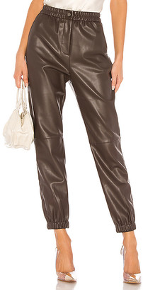 Divine Heritage Vegan Leather Fly Front Sweatpant
