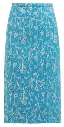 Rochas Floral Brocade Pencil Skirt - Womens - Blue Multi
