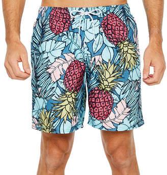 ST. JOHN'S BAY Blue Pineapple Floral Swim Shorts