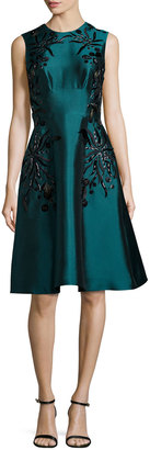 Lela Rose Sleeveless Floral-Embroidered Dress, Teal $1,048 thestylecure.com