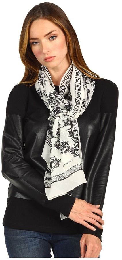 Versace Flowers and Greca Print Scarf (White) - Accessories