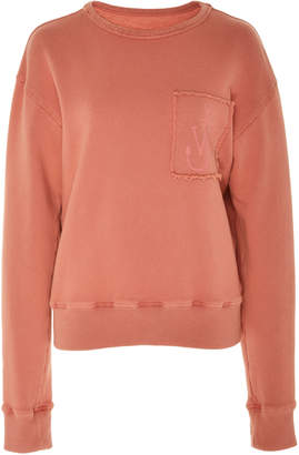 J.W.Anderson Frayed Embroidered Cotton-Jersey Sweatshirt